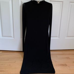 H&M Black Maxi Dress with Sheer, Long Sleeves
